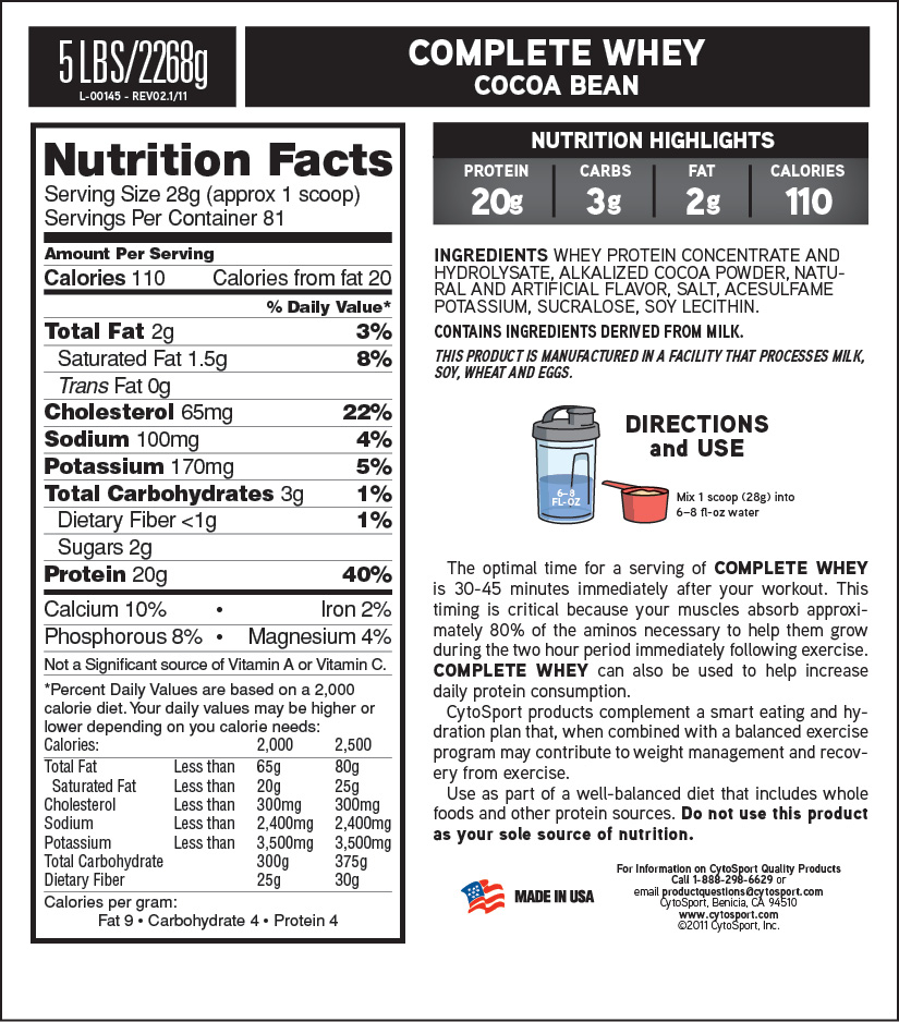 CytoSport Complete Whey Supplement Facts