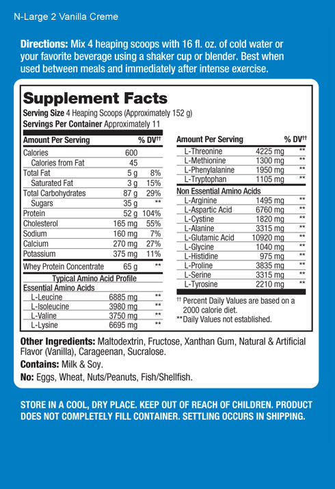 Prolab Nlarge Supplement Facts