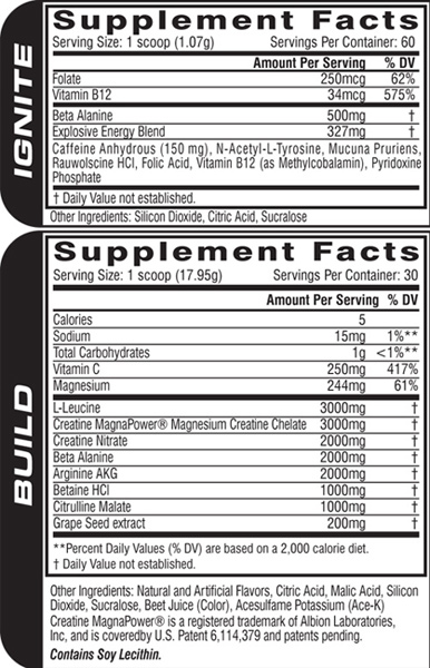 M5 Xtreme Supplement Facts