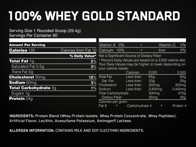 Optimum 100% Whey Supplement facts