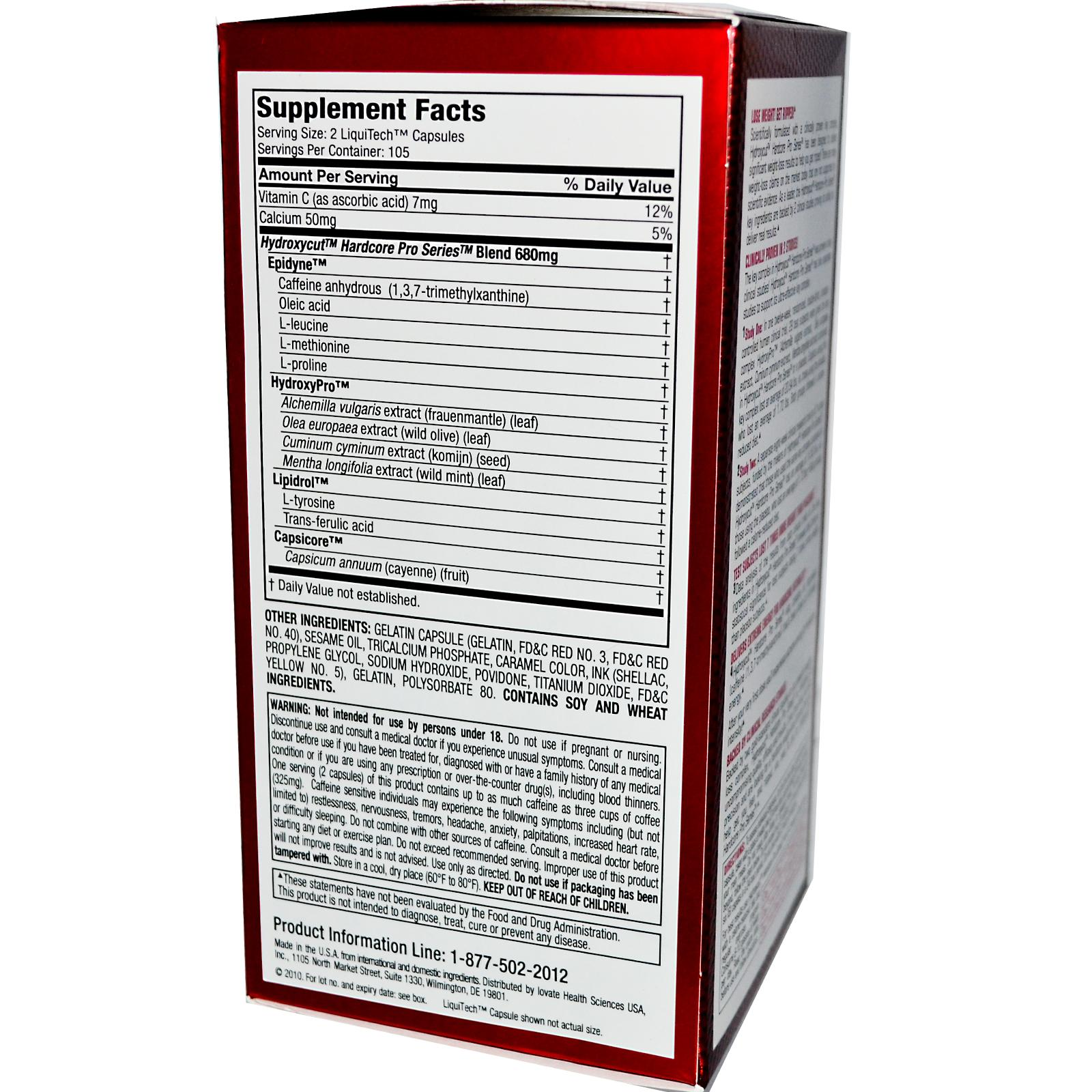 Hydroxycut Supplement facts