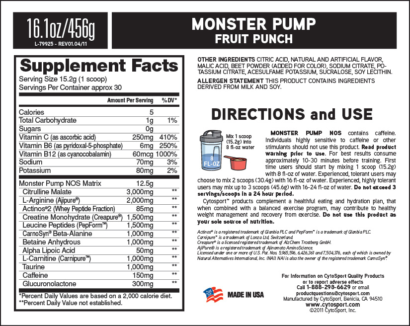Monster Pump Supplement facts