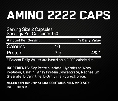 2222 Amino Supplement Facts
