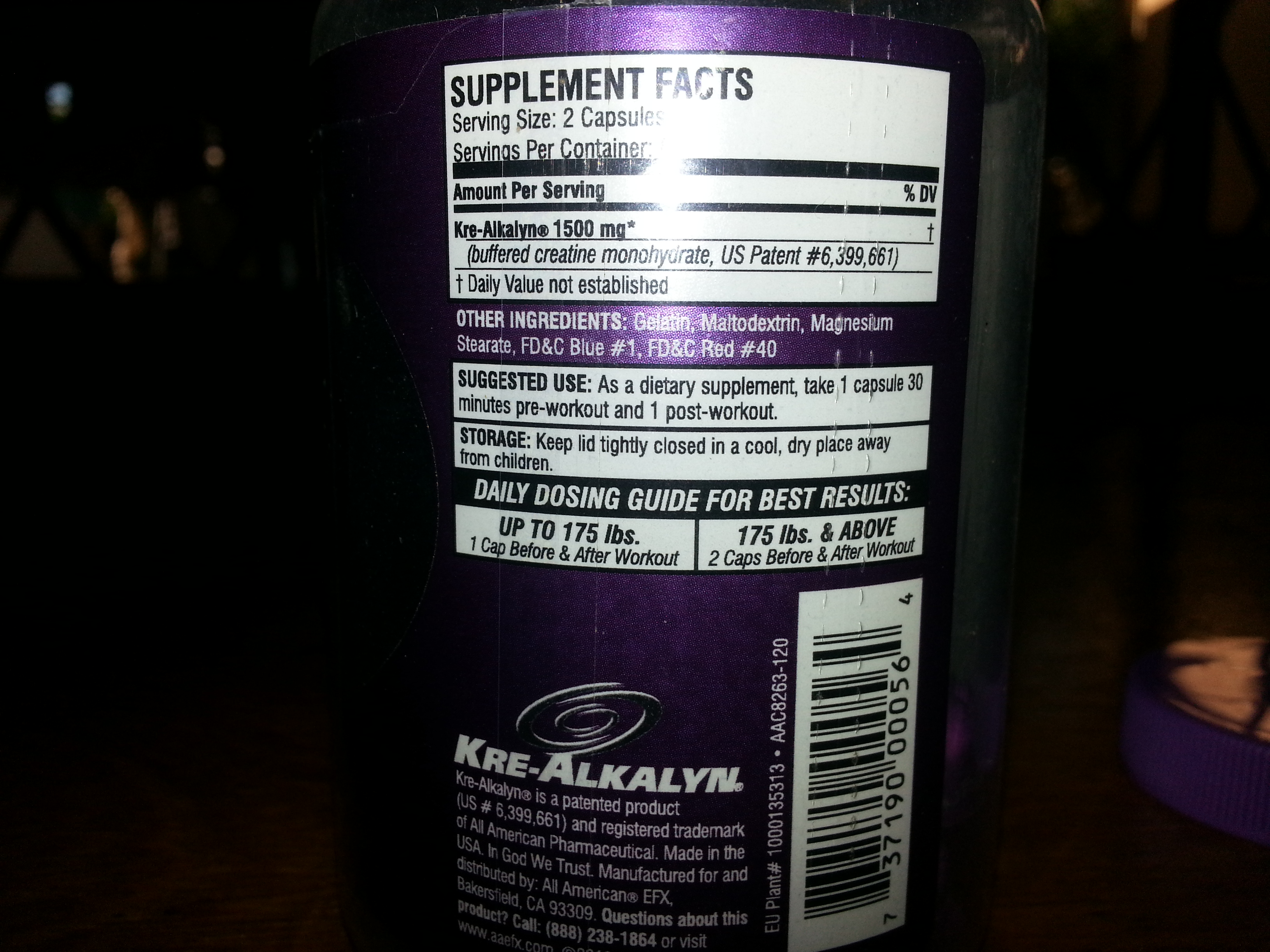 All American Kre Alkaline Supplement Facts.