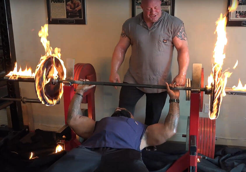 The Burning Bench Press in action