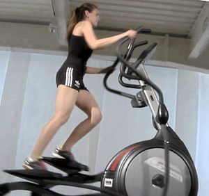 Elliptical cross trainer in use